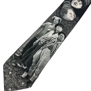 Three Stooges Tie Ralph Marlin Golfing Black White